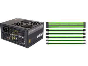 Thermaltake Toughpower SFX/ATX 600W SLI/CrossFire Ready Continuous Power 12V 3.3/ATX 12V 2.4 80 PLUS GOLD Certified Fully Modular Power Supply Skylake C6/C7 Ready PS-STP-0600FPCGUS-G and Thermaltake AC-034-CN1NAN-A1 11.81 in. (All Cables) T