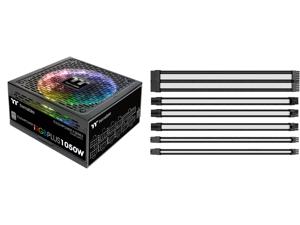 Thermaltake Toughpower iRGB Plus 1050W Digital SLI/CrossFire Ready Continuous Power Digital RGB LED Smart Zero Fan ATX12V v2.4 / SSI EPS v2.92 80 PLUS PLATINUM Certified Full Modular Power Supply and Thermaltake AC-048-CN1NAN-A1 11.81 in. (