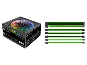 Thermaltake Toughpower iRGB Plus 1050W Digital SLI/CrossFire Ready Continuous Power Digital RGB LED Smart Zero Fan ATX12V v2.4 / SSI EPS v2.92 80 PLUS PLATINUM Certified Full Modular Power Supply and Thermaltake AC-034-CN1NAN-A1 11.81 in. (