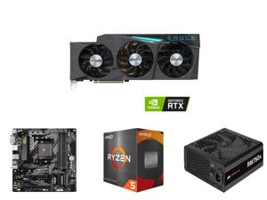GIGABYTE Eagle GeForce RTX 3080 10GB GDDR6X PCI Express 4.0 ATX Video Card GV-N3080EAGLE-10GD (rev. 2.0) and GIGABYTE B550M DS3H AM4 AMD B550 Micro-ATX Motherboard with Dual M.2 SATA 6Gb/s USB 3.2 Gen 1 PCIe 4.0 and AMD Ryzen 5 5600X - Ryze