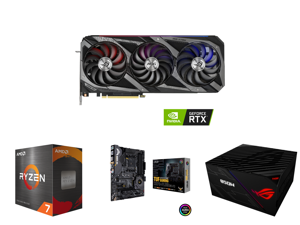 ASUS ROG GeForce RTX 3080 10GB GDDR6X PCI Express 4.0 x16 Video Card STRIX-RTX3080-O10G-V2-GAMING and AMD Ryzen 7 5800X - Ryzen 7 5000 Series Vermeer (Zen 3) 8-Core 3.8 GHz Socket AM4 105W Desktop Processor - 100-100000063WOF and ASUS AM4 T