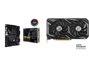 ASUS TUF GAMING B550-PLUS AMD AM4 (3rd Gen Ryzen) ATX Gaming Motherboard (PCIe 4.0 2.5Gb LAN HDMI 2.1 BIOS FlashBack USB 3.2 Gen 2 Addressable Gen 2 RGB Header and AURA Sync) and ASUS ROG STRIX Radeon RX 6600 XT 8GB GDDR6 PCI Express 4.0 Cr