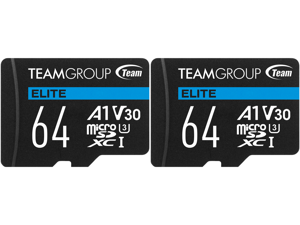 2 x Team 64GB Elite microSDXC UHS-I U3 V30 A1 4K UHD Memory Card with SD Adapter Speed Up to 90MB/s (TEAUSDX64GIV30A103)