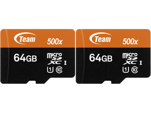 2 x Team 64GB microSDXC UHS-I/U1 Class 10 Memory Card with Adapter Speed Up to 80MB/s (TUSDX64GUHS03)