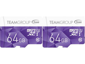 2 x Team Group 64GB Color microSDXC UHS-I/U1 Class 10 Memory Card with Adapter Speed Up to 80MB/s (TCUSDX64GUHS41)