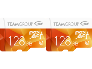 2 x Team Group 128GB Color microSDXC UHS-I/U1 Class 10 Memory Card with Adapter Speed Up to 80MB/s (TCUSDX128GUHS42)