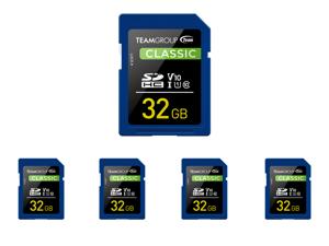 5 x Team Group 32GB Classic SD Card U1 V10 C10 Card Read/Write Speed Up to 80/15MB/s (TSDHC32GIV1001)