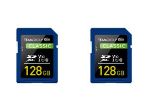 2 x Team Group 128GB Classic SD Card U1 V10 C10 Card Read/Write Speed Up to 80/15MB/s (TSDXC128GIV1001)