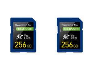 2 x Team Group 256GB Classic SD Card U1 V10 C10 Card Read/Write Speed Up to 80/15MB/s (TSDXC256GIV1001)