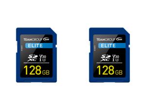 2 x Team Group 128GB Elite SD Card UHS-I U3 V30 Read/Write Speed Up to 90/45MB/s (TESDXC128GIV3001)