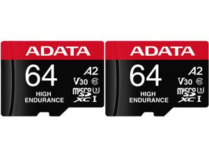 2 x ADATA 64GB High Endurance microSDXC UHS-I U3 / Class 10 V30 A2 Memory Card with SD Adapter Speed Up to 100MB/s (AUSDX64GUI3V30SHA2-RA1)