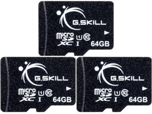 3 x G.Skill 64GB microSDXC UHS-I/U1 Class 10 Memory Card without Adapter (FF-TSDXC64GN-U1)