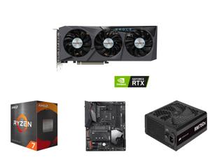 GIGABYTE Eagle GeForce RTX 3070 8GB GDDR6 PCI Express 4.0 ATX Video Card GV-N3070EAGLE OC-8GD (rev. 2.0) and AMD Ryzen 7 5800X - Ryzen 7 5000 Series Vermeer (Zen 3) 8-Core 3.8 GHz Socket AM4 105W Desktop Processor - 100-100000063WOF and GIG