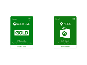 Xbox Gold Live: 12 Month Membership US (Digital Code) and Xbox Gift Card $60 US (Email Delivery)