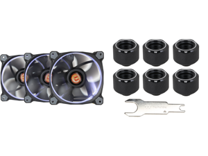 Thermaltake Riing 12 High Static Pressure 120mm Circular Ring LED Case/Radiator Fan with Anti-vibration Mounting System - White - 3 PKS and Thermaltake CL-W214-CU00BL-B Pacific C-PRO G1/4 PETG Tube 16mm OD Compression - Black (6-Pack Fittin