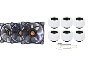 Thermaltake Riing 12 High Static Pressure 120mm Circular Ring LED Case/Radiator Fan with Anti-vibration Mounting System - White - 3 PKS and Thermaltake Pacific White 4 Build-in O-Rings C-Pro G1/4 PETG 16mm OD Compression Fitting 6 Pack CL-W