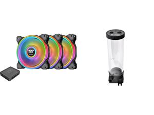 "Thermaltake Riing Quad CL-F088-PL12SW-B RGB LED Radiator Fan 3 Pack and Thermaltake Pacific DIY PR22-DDC 300ml 4600 RPM 3-Port G 1/4"" Thread PPS PMMA DDC Pump/Reservoir Combo CL-W250-PL00BL-A"