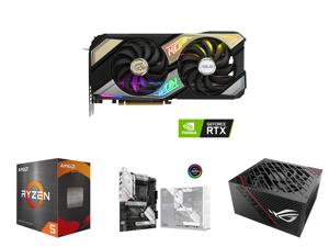 ASUS KO NVIDIA GeForce RTX 3070 V2 OC Edition 8GB GDDR6 Gaming Graphics Card (PCIe 4.0 8GB GDDR6 LHR HDMI 2.1 DisplayPort 1.4a Axial-tech Fan Design 0dB Technology Enduring Capacitors) and AMD Ryzen 5 5600X - Ryzen 5 5000 Series Vermeer (Ze
