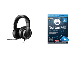 MSI Immerse GH61 Circumaural Gaming Headset and NortonLifeLock Norton 360 for Gamers - Multi-layered protection for PCs - Includes Game Optimizer Gamer tag monitoring Secure VPN and PC Cloud Backup - 13 Months [Download]