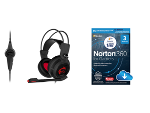 MSI Gaming Headset with Microphone Enhanced Virtual 7.1 Surround Sound and Intelligent Vibration System (DS502) and NortonLifeLock Norton 360 for Gamers - Multi-layered protection for PCs - Includes Game Optimizer Gamer tag monitoring Secur
