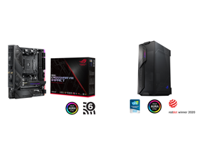 ASUS ROG Crosshair VIII Impact AM4 AMD X570 SATA 6Gb/s Mini DTX AMD Motherboard and ASUS ROG Z11 Mini-ITX/DTX Mid-Tower PC Gaming Case with Patented 11° Tilt Design Compatible with ATX Power Supply or a 3-Slot Graphics Tempered-glass Panels