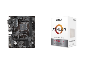 GIGABYTE A520M S2H mATX AM4 4+3 Phases Digital PWM GIGABYTE Gaming GbE LAN NVMe PCIe 3.0 x4 M.2 3 Display Interfaces Q-Flash Plus RGB Fusion 2.0 Motherboard and AMD Athlon 3000G Picasso (Zen+) 3.5GHz Dual-Core Unlocked OC AM4 Processor with