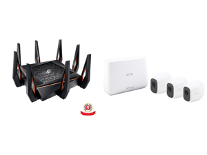 ASUS ROG Rapture GT-AX11000 AX11000 Tri-band 10 Gigabit WiFi Router AiProtection Lifetime Security by Trend Micro AiMesh compatible for Mesh Wi-Fi System Next-Gen Wi-Fi 6 Wireless 802.11Ax and Arlo Pro 2 Wireless Security Camera System - 3