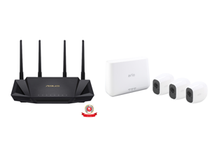 ASUS RT-AX3000 Dual Band WiFi Router WiFi 6 802.11ax Lifetime Internet Security support AiMesh Whole-home WiFi 4 x 1Gb LAN ports USB 3.0 MU-MIMO OFDMA VPN and Arlo Pro 2 Wireless Security Camera System - 3 Rechargeable Battery Powered Wire-