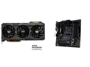 ASUS TUF Gaming Radeon RX 6800 XT 16GB GDDR6 PCI Express 4.0 CrossFireX Support Video Card TUF-RX6800XT-O16G-GAMING and ASUS TUF GAMING B450M-PRO S AM4 AMD B450 SATA 6Gb/s Micro ATX AMD Motherboard