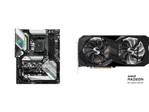 ASRock B550 STEEL LEGEND AM4 AMD B550 SATA 6Gb/s ATX AMD Motherboard and ASRock Challenger D Radeon RX 6600 XT 8GB GDDR6 PCI Express 4.0 Video Card RX6600XT CLD 8GO