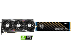 MSI Gaming GeForce RTX 3070 8GB GDDR6 PCI Express 4.0 Video Card 3070 GAMING Z TRIO 8G LHR and MSI SPATIUM Series M.2 2280 2TB PCIe Gen3 x4 NVMe 1.3 3D NAND Internal Solid State Drive (SSD) M370
