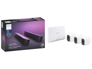 Philips Hue Play White Color Smart Light 2 Pack Base kit Hub Required/Power Supply Included (Works with Amazon Alexa Apple Homekit Google Home) and Arlo Pro 2 Wireless Security Camera System - 3 Rechargeable Battery Powered Wire-Free HD 108