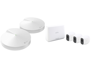 TP-Link Deco Mesh WiFi Router (Deco M5) – Dual Band Gigabit Wireless RouterQuad-core CPU MU-MIMO HomeCare Parental Control Up to 3800 sq. ft. Coverage Works with Alexa 2-pack and Arlo Pro 2 Wireless Security Camera System - 3 Rechargeable B