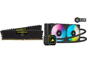 CORSAIR Vengeance LPX 16GB (2 x 8GB) 288-Pin DDR4 SDRAM DDR4 3600 (PC4 28800) Intel XMP 2.0 Desktop Memory Model CMK16GX4M2D3600C18 and Corsair Hydro Series iCUE H100i ELITE CAPELLIX 240mm Radiator Dual ML120 RGB PWM Fans Powerful iCUE Soft