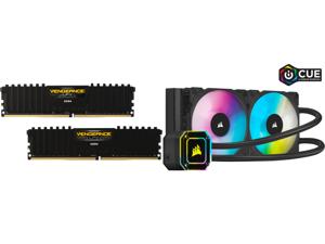 CORSAIR Vengeance LPX 16GB (2 x 8GB) 288-Pin DDR4 SDRAM DDR4 3200 (PC4 25600) Intel XMP 2.0 Desktop Memory Model CMK16GX4M2B3200C16 and Corsair Hydro Series iCUE H100i ELITE CAPELLIX 240mm Radiator Dual ML120 RGB PWM Fans Powerful iCUE Soft