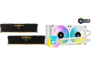 CORSAIR Vengeance LPX 16GB (2 x 8GB) 288-Pin DDR4 SDRAM DDR4 3200 (PC4 25600) Intel XMP 2.0 Desktop Memory Model CMK16GX4M2B3200C16 and CORSAIR iCUE H100i ELITE CAPELLIX WHITE 240mm Radiator Liquid CPU Cooler White CW-9060050-WW