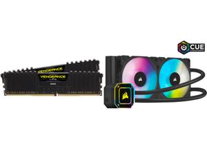 CORSAIR Vengeance LPX 32GB (2 x 16GB) 288-Pin DDR4 SDRAM DDR4 3200 (PC4 25600) Intel XMP 2.0 Desktop Memory Model CMK32GX4M2E3200C16 and Corsair Hydro Series iCUE H100i ELITE CAPELLIX 240mm Radiator Dual ML120 RGB PWM Fans Powerful iCUE Sof