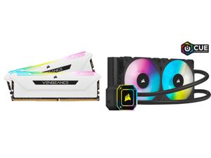 CORSAIR Vengeance RGB Pro SL 32GB (2 x 16GB) 288-Pin DDR4 SDRAM DDR4 3600 (PC4 28800) Intel XMP 2.0 Desktop Memory Model CMH32GX4M2D3600C18W and Corsair Hydro Series iCUE H100i ELITE CAPELLIX 240mm Radiator Dual ML120 RGB PWM Fans Powerful