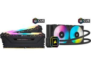 CORSAIR Vengeance RGB Pro (AMD Ryzen Ready) 32GB (2 x 16GB) 288-Pin DDR4 3600 (PC4 28800) AMD Optimized Desktop Memory Model CMW32GX4M2Z3600C18 and Corsair Hydro Series iCUE H100i ELITE CAPELLIX 240mm Radiator Dual ML120 RGB PWM Fans Powerf