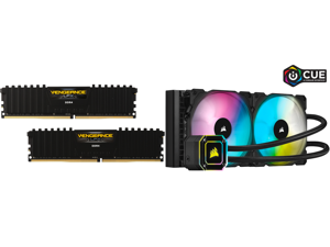 CORSAIR Vengeance LPX 16GB (2 x 8GB) 288-Pin DDR4 SDRAM DDR4 3200 (PC4 25600) Intel XMP 2.0 Desktop Memory Model CMK16GX4M2B3200C16 and Corsair Hydro Series iCUE H115i ELITE CAPELLIX 280mm Radiator Dual ML140 RGB PWM Fans Powerful iCUE Soft