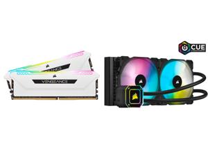CORSAIR Vengeance RGB Pro SL 32GB (2 x 16GB) 288-Pin DDR4 SDRAM DDR4 3600 (PC4 28800) Intel XMP 2.0 Desktop Memory Model CMH32GX4M2D3600C18W and Corsair Hydro Series iCUE H115i ELITE CAPELLIX 280mm Radiator Dual ML140 RGB PWM Fans Powerful