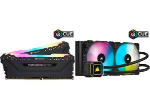 CORSAIR Vengeance RGB Pro (AMD Ryzen Ready) 32GB (2 x 16GB) 288-Pin DDR4 3600 (PC4 28800) AMD Optimized Desktop Memory Model CMW32GX4M2Z3600C18 and Corsair Hydro Series iCUE H115i ELITE CAPELLIX 280mm Radiator Dual ML140 RGB PWM Fans Powerf