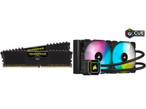 CORSAIR Vengeance LPX 64GB (2 x 32GB) 288-Pin DDR4 SDRAM DDR4 3200 (PC4 25600) Intel XMP 2.0 Desktop Memory Model CMK64GX4M2E3200C16 and Corsair Hydro Series iCUE H115i ELITE CAPELLIX 280mm Radiator Dual ML140 RGB PWM Fans Powerful iCUE Sof