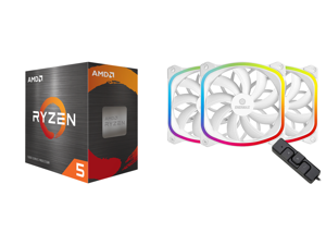 AMD Ryzen 5 5600X - Ryzen 5 5000 Series Vermeer (Zen 3) 6-Core 3.7 GHz Socket AM4 65W Desktop Processor - 100-100000065BOX and Enermax SquA RGB PWM 120mm Case Fan Addressable RGB Sync Via Motherboard w/ RGB Control Box 3 Fan Pack - White UC