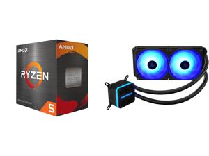 AMD Ryzen 5 5600X - Ryzen 5 5000 Series Vermeer (Zen 3) 6-Core 3.7 GHz Socket AM4 65W Desktop Processor - 100-100000065BOX and Enermax LIQMAX III RGB 240 All-in-one CPU Liquid Cooler for AM4 / LGA1200 240mm Radiator Dual-Chamber Water Block