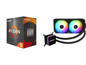 AMD Ryzen 5 5600X - Ryzen 5 5000 Series Vermeer (Zen 3) 6-Core 3.7 GHz Socket AM4 65W Desktop Processor - 100-100000065BOX and Enermax LIQMAX III ARGB 240 Addressable RGB All-in-one CPU Liquid Cooler for AM4 / LGA1200 240mm Radiator Dual-Ch