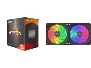 AMD Ryzen 5 5600X - Ryzen 5 5000 Series Vermeer (Zen 3) 6-Core 3.7 GHz Socket AM4 65W Desktop Processor - 100-100000065BOX and COOLERMASTER MFX-B2D2-18NPA-R1 MasterFan SF240R ARGB Fan