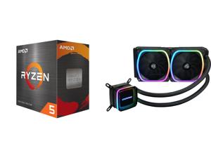 AMD Ryzen 5 5600X - Ryzen 5 5000 Series Vermeer (Zen 3) 6-Core 3.7 GHz Socket AM4 65W Desktop Processor - 100-100000065BOX and Enermax AQUAFUSION 240 Addressable RGB All-in-one CPU Liquid Cooler for AM4 / LGA1200 240mm Radiator Dual-Chamber