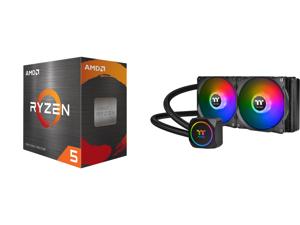 AMD Ryzen 5 5600X - Ryzen 5 5000 Series Vermeer (Zen 3) 6-Core 3.7 GHz Socket AM4 65W Desktop Processor - 100-100000065BOX and Thermaltake TH240 ARGB Motherboard Sync Edition Intel/AMD All-in-One Liquid Cooling System 240mm High Efficiency