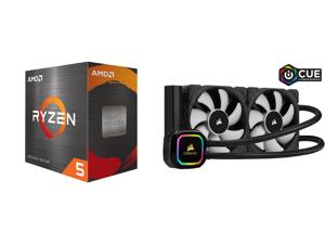 AMD Ryzen 5 5600X - Ryzen 5 5000 Series Vermeer (Zen 3) 6-Core 3.7 GHz Socket AM4 65W Desktop Processor - 100-100000065BOX and CORSAIR iCUE H100i RGB PRO XT 240mm Radiator Dual 120mm PWM Fans Software Control Liquid CPU Cooler CW-9060043-WW